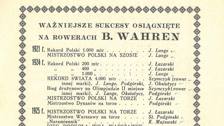 Ważniejsze sukcesy osiągnięte na rowerach B. Wahren.