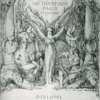 Olimpijskie pamiątki Franiciszka Szymczyka z Paryża: dyplom za zdobycie 2 miejsca w drużynowym wyścigu na 4000 m ze startu zatrzymanego, podpisany przez barona Pierre de Coubertina, oraz medal olimpijski.