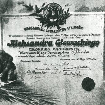 Dyplom, przyznany honorowemu członkowi WTC, Aleksandrowi Głowackiemu.