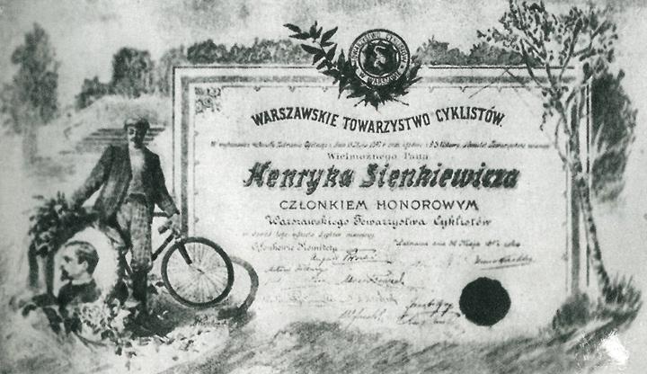 Dyplom Henryka Sienkiewicza – członek honorowy.